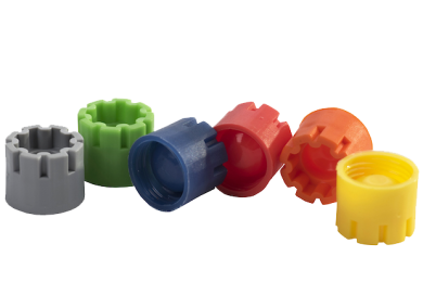 The color range of Micronic's externally threaded screw caps