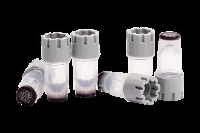 Six 0.30ml externally threaded tubes precapped with grey screw caps
