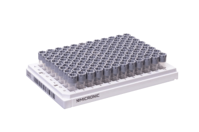 A 96-well format rack of 0.40ml externally threaded tubes precapped with grey screw caps.