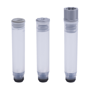 A 1.10ml internally threaded tube precapped with a grey TPE push cap, a 1.10ml internally threaded tube precapped with a low profile screw cap, and a 1.10ml internally threaded tube precapped with a grey screw cap