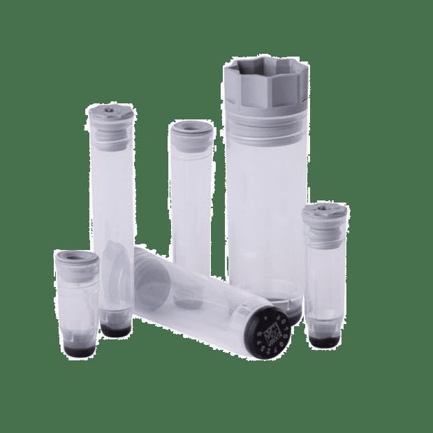 The full range of Micronic's internally threaded tubes
