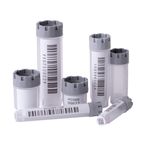 The complete range of Micronic's externally threaded hybrid tubes precapped with grey screw caps