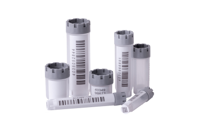 The complete Micronic range of externally threaded hybrid tubes precapped with grey screw caps